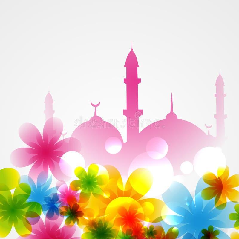 Moskee met bloemen wordt behandeld die vector illustratie