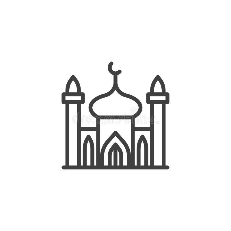 Moskee met het pictogram van de minaretlijn royalty-vrije illustratie