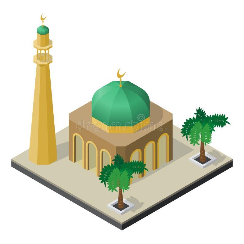 Moskee, minaret en palmen in isometrische mening stock illustratie