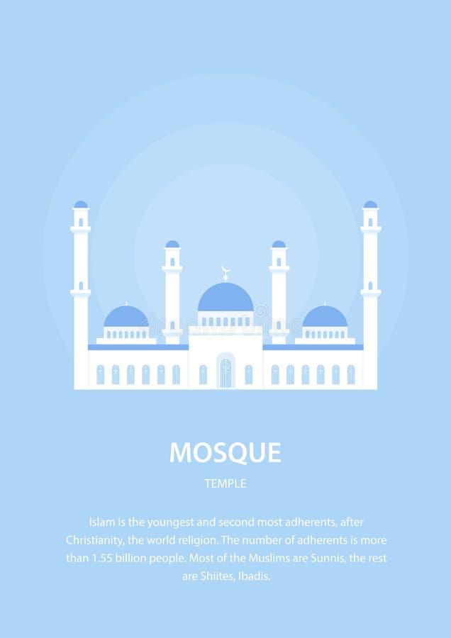 Moskee Moslimarchitectuur Godsdienstige Gebouwen De Vectorillustratie van het oosten royalty-vrije illustratie