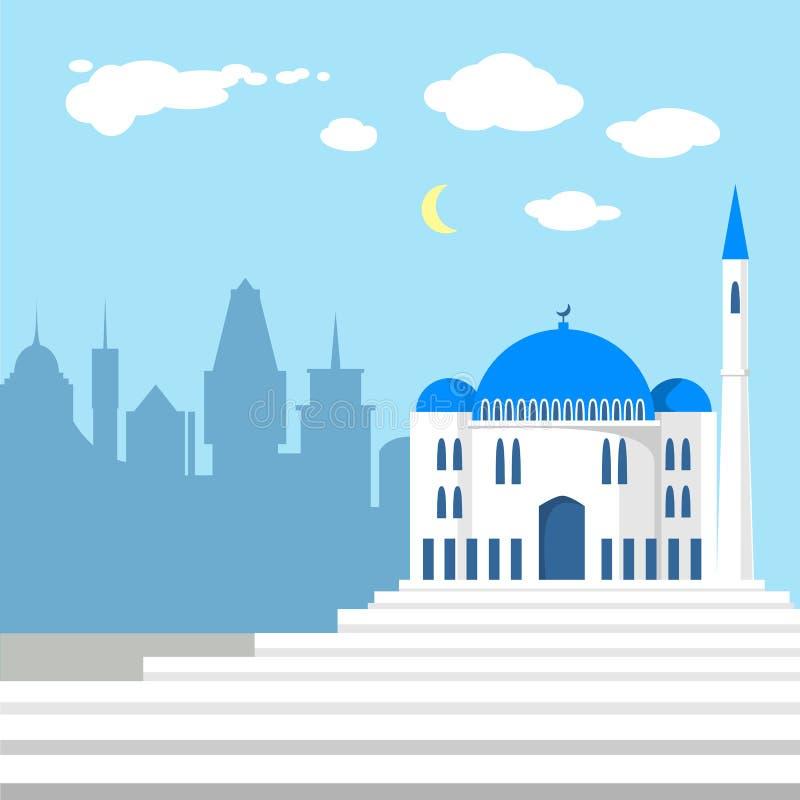 Moskee op de achtergrond van Islamitische stad stock illustratie