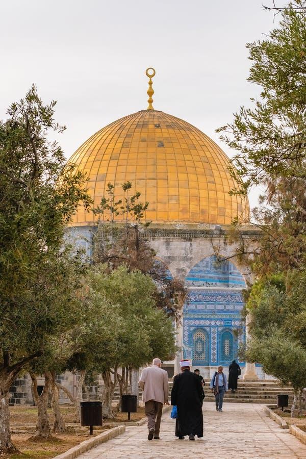 Moskee van al-Aqsa of Koepel van de Rots in Jeruzalem, Isra?l royalty-vrije stock afbeeldingen