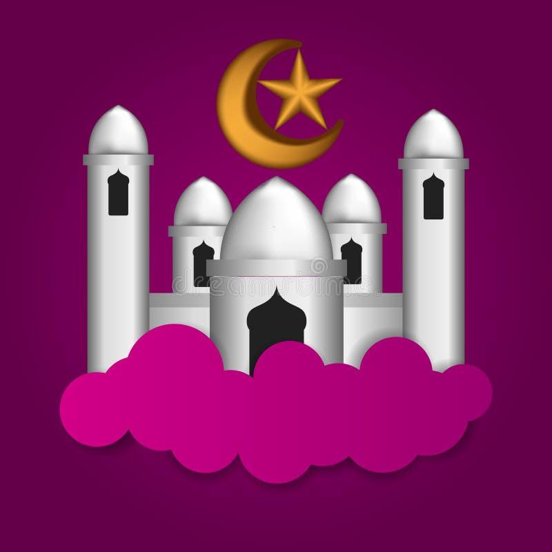 Moskeeillustratie op de wolk met gouden halve maan en ster met purpere achtergrond voor Islamitische ramadan gebeurtenis stock illustratie