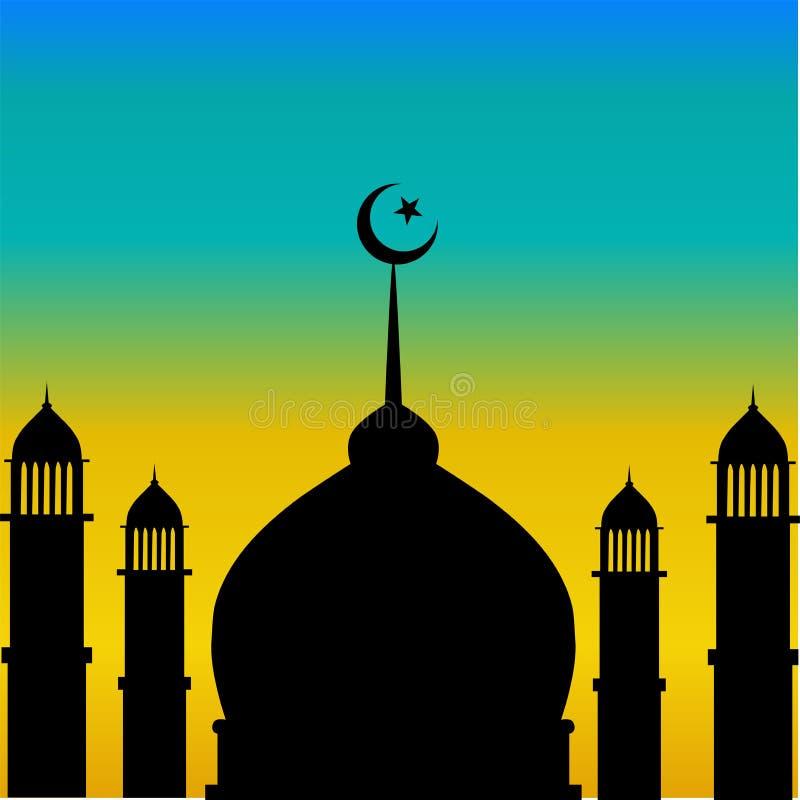 Moskeekoepel en minaretsilhouet met maan tijdens zonsondergang royalty-vrije illustratie