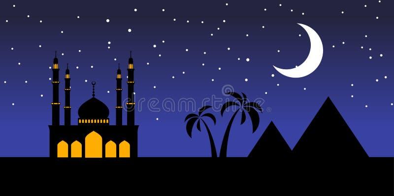 Moskeelandschap Egypte stock illustratie