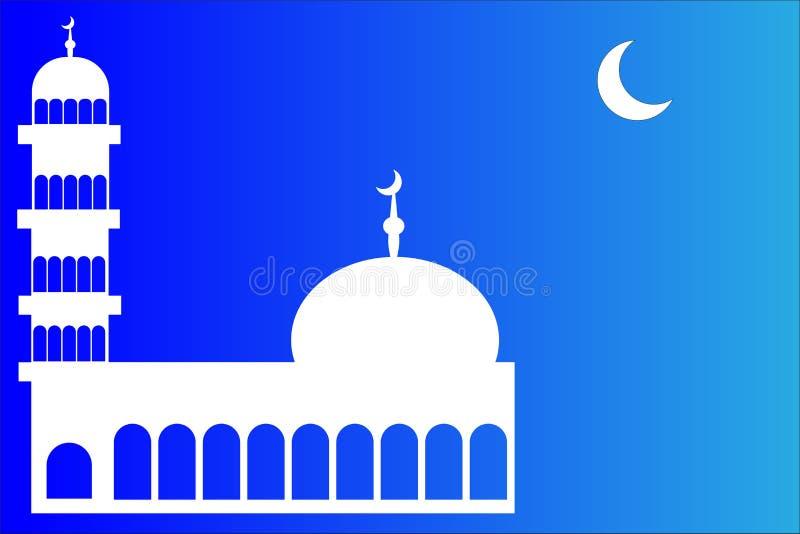 Moskeeminaret en Crescent Moon stock illustratie