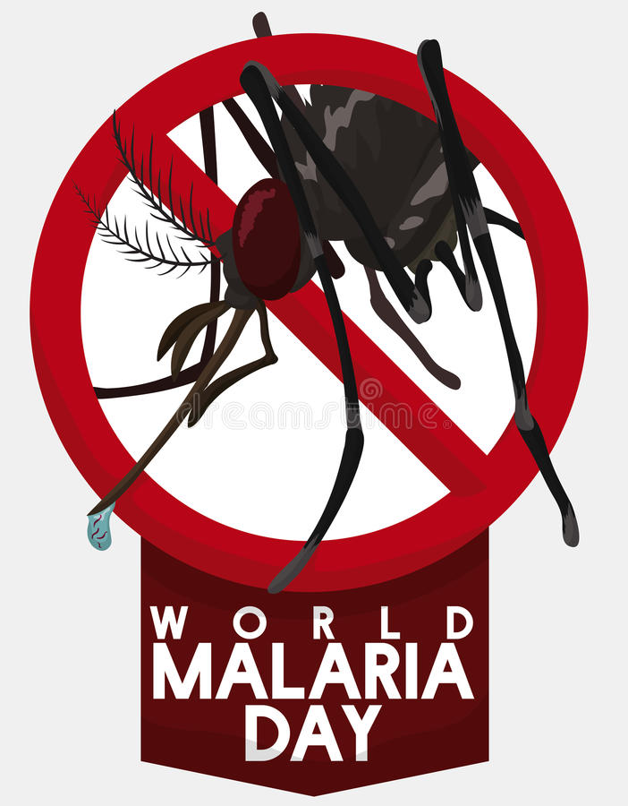 Moskito ist am Weltmalaria-Tag, Vektor-Illustration verboten stock abbildung