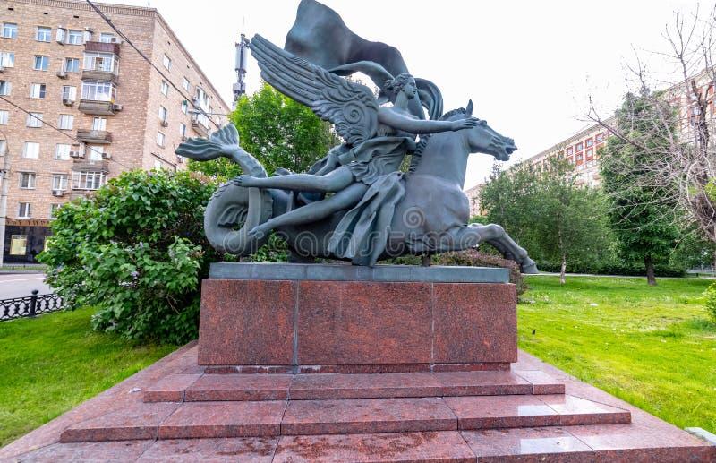 moskou Allegorie van watermonument, sculpturet Rusland stock afbeelding