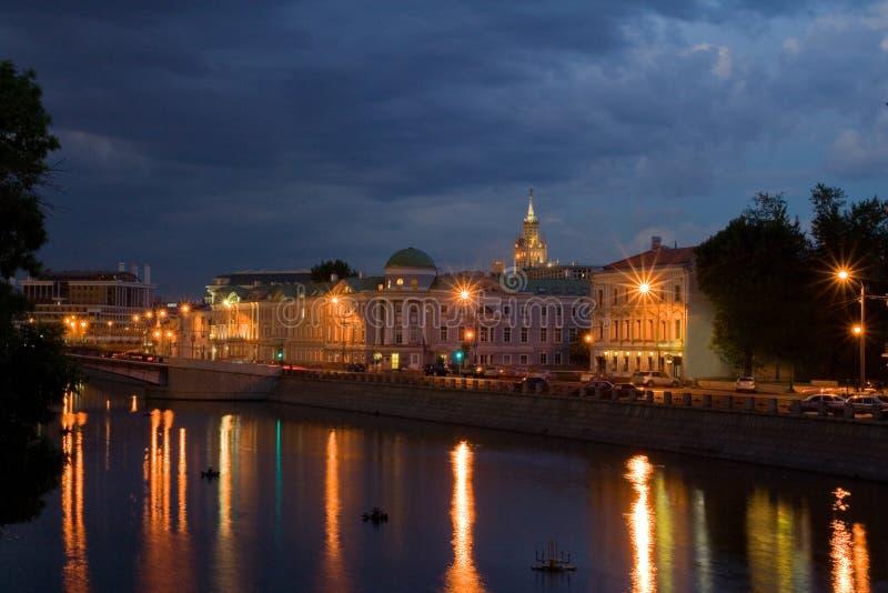 Moskou bij Nacht royalty-vrije stock fotografie