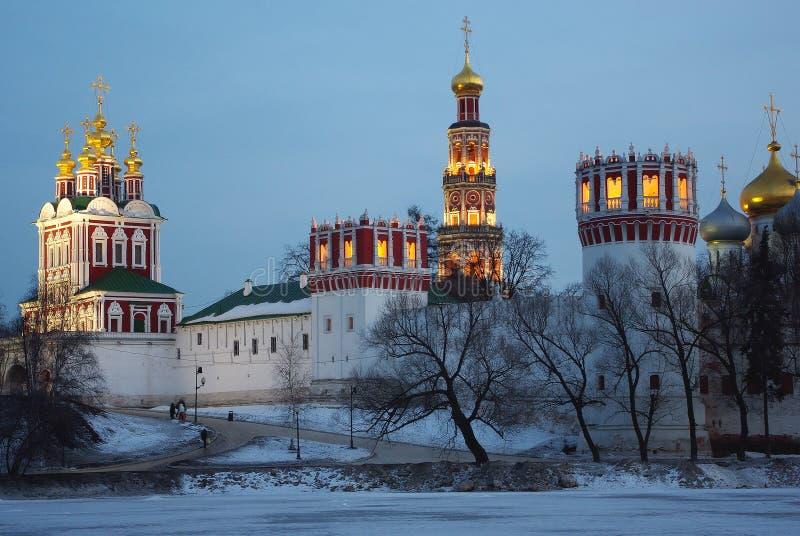 Moskou in de nacht royalty-vrije stock afbeelding