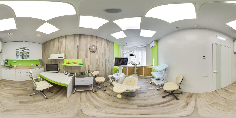 MOSKOU - de ZOMER VAN 2018, 3D sferisch panorama met het bekijken 360 hoek van het groene moderne tandbureau klaar voor virtuele  stock foto