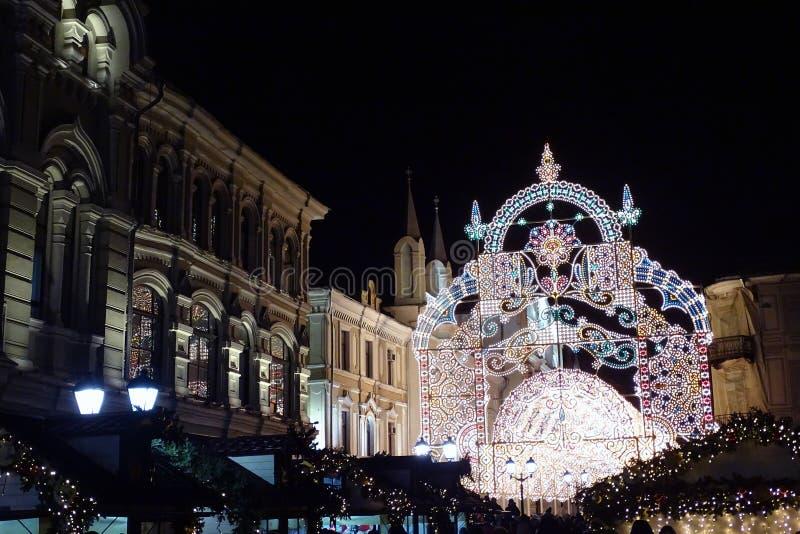 Moskou, feestelijke straat, nieuw jaar royalty-vrije stock afbeeldingen