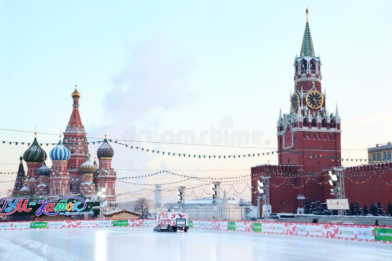 Gom-schaatsende piste op het Rode Vierkant royalty-vrije stock foto