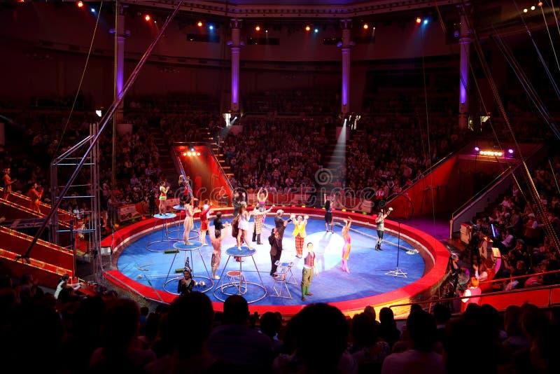 MOSKOU - JUNI 5 - arena in het circus van Moskou Nikulin stock foto's