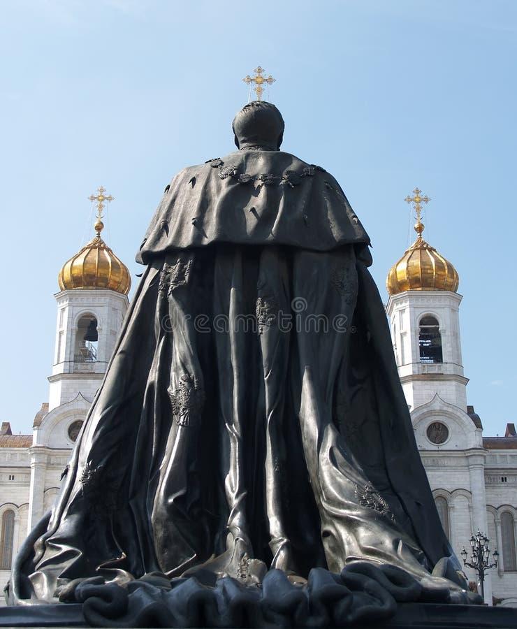 moskou Monument aan de keizer Alexander II en Kathedraal van Christus de Verlosser stock afbeelding