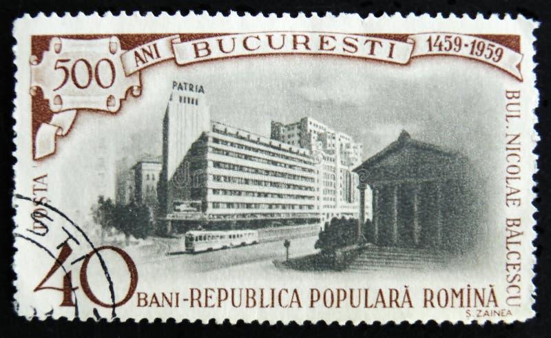 MOSKOU, RUSLAND - APRIL 2, 2017: Een postzegel in Roemenië wordt gedrukt dat royalty-vrije stock foto's