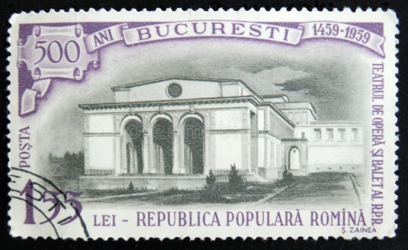 MOSKOU, RUSLAND - APRIL 2, 2017: Een postzegel in Roemenië wordt gedrukt dat stock foto