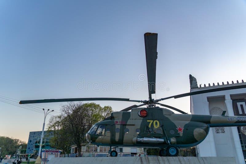 Moskou, Rusland, 30 April, 2019: Helikopter mi-8, Russische Luchtmacht op het grondgebied van VDNH royalty-vrije stock foto