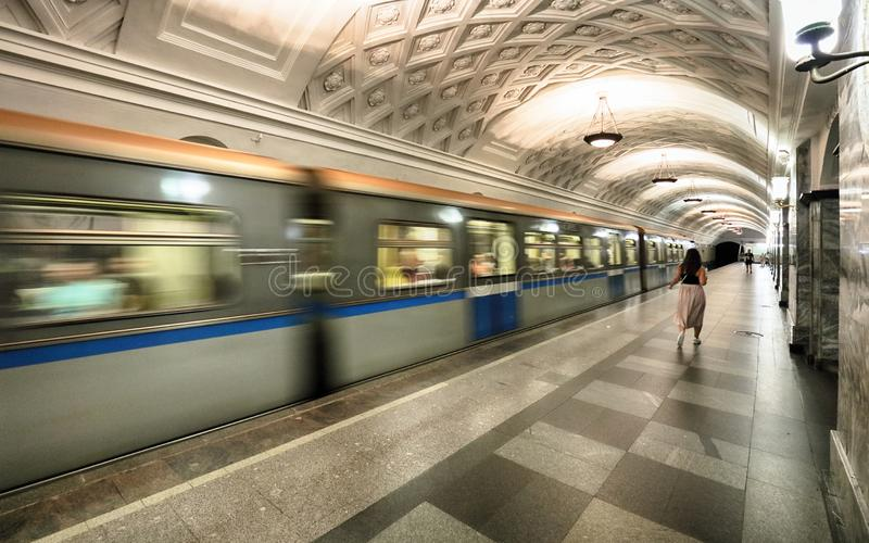 MOSKOU, RUSLAND - AUGUSTUS 4, 2018: Metro post Prospekt Mira E stock afbeeldingen