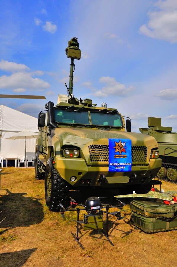 MOSKOU, RUSLAND - AUGUSTUS 2015: Verkenningsvoertuig kamaz-53949 PR stock afbeeldingen