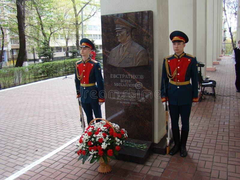 Moskou, Rusland die, 9 Mei, 2018, de Grote Patriottische Oorlog door militairen van het Transfiguratieregiment en de oorlogsveter stock afbeelding