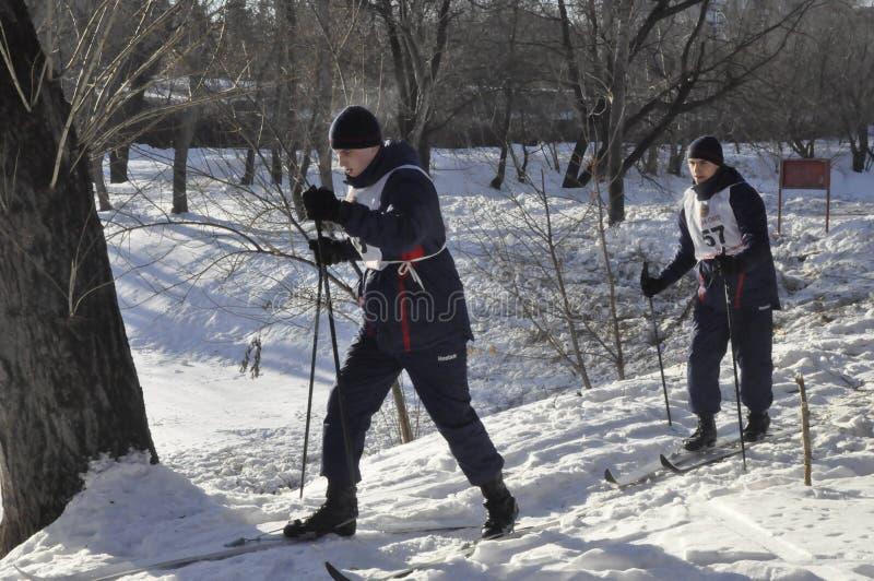 Moskou, Rusland, Januari 2, 2019, sporten en massagebeurtenissen in het 154 afzonderlijk Regiment van Commandantenpreobrazhensky, royalty-vrije stock afbeelding