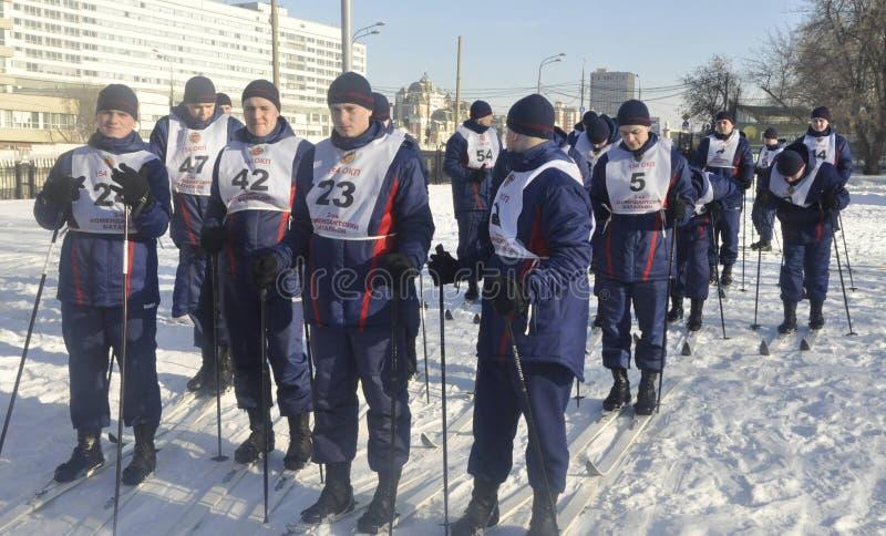 Moskou, Rusland, Januari 2, 2019, sporten en massagebeurtenissen in het 154 afzonderlijk Regiment van Commandantenpreobrazhensky, royalty-vrije stock fotografie