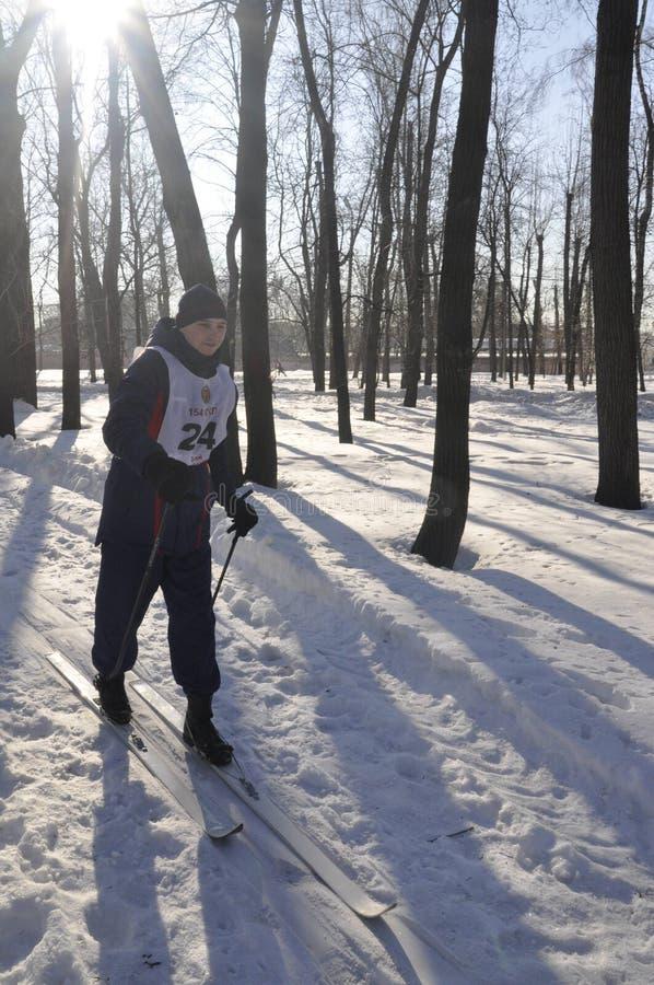 Moskou, Rusland, Januari 2, 2019, sporten en massagebeurtenissen in het 154 afzonderlijk Regiment van Commandantenpreobrazhensky, stock foto's