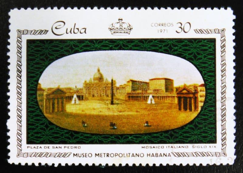MOSKOU, RUSLAND - JULI 15, 2017: Een zegel in Cuba wordt gedrukt dat toont Pl stock afbeelding