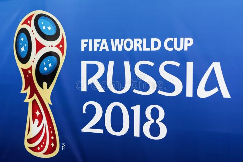 MOSKOU, RUSLAND - 14 Juni, het Officiële embleem van 2018, embleem van de Wereldbeker FIFA 2018, de Ventilator Fest van 2018 van  stock fotografie