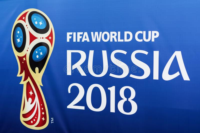 MOSKOU, RUSLAND - 14 Juni, het Officiële embleem van 2018, embleem van de Wereldbeker FIFA 2018, de Ventilator Fest van 2018 van  stock foto's