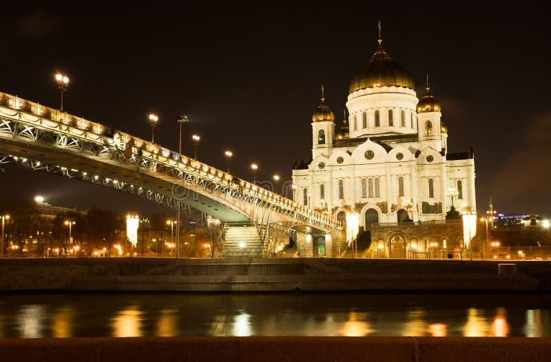 Moskou, Rusland Kathedraal van de Verlosser van Christus met Brug s in Wint stock foto