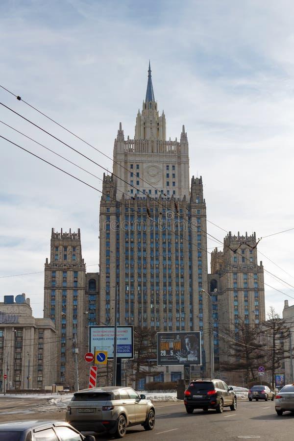 Moskou, Rusland - Maart 25, 2018: De bouw van het Ministerie van buitenlandse zaken van de Russische Federatie op de Smolensky-bo royalty-vrije stock fotografie