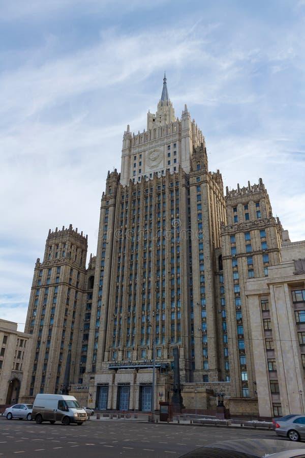 Moskou, Rusland - Maart 25, 2018: De bouw van het Ministerie van buitenlandse zaken van de Russische Federatie op de Smolensky-bo stock foto