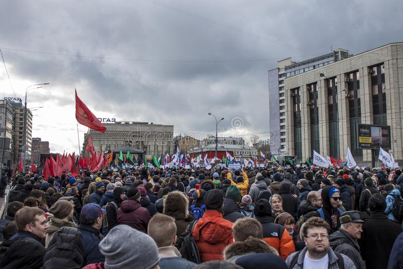 Moskou, Rusland, - 10 Maart 2019 De vrijheid van Internet van de verzamelingsvraag in Rusland stock fotografie