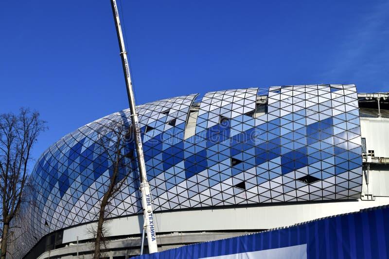Moskou, Rusland - Maart 17 2018 Wederopbouw van de Dynamo van het voetbalstadion royalty-vrije stock fotografie