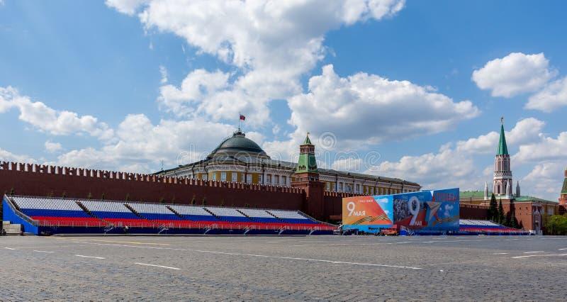 Moskou, Rusland 6 Mei, het Rode Vierkant van 2019, mening van het Kremlin stock foto