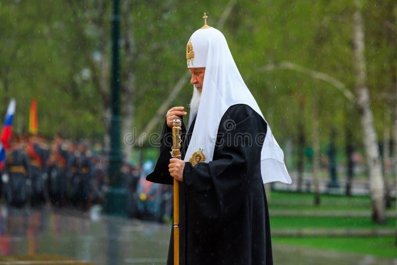 MOSKOU, RUSLAND - MEI 08, 2017: Patriarch van Moskou en al Rus ` KIRILL en de HOGERE GEESTELIJKHEID van de Russische Orthodoxe ge stock fotografie