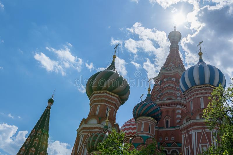 Moskou, Rusland 6 Mei, 2019 Vasilyevsky Cathedral stock fotografie