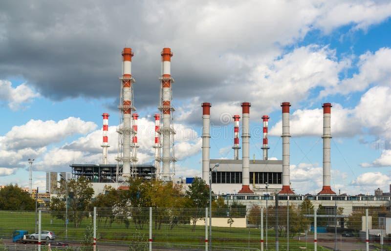 Moskou, 01 Rusland-Oktober 2016 Thermische Macht Internationale en stadsverwarmingsinstallatiespost Krasnaya Presnya royalty-vrije stock afbeelding