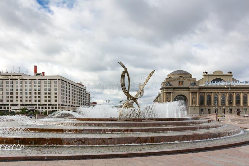 MOSKOU, RUSLAND - September 16, 2017 - Abductie van de Fontein van Europa op het Vierkant van Europa in Moskou stock fotografie