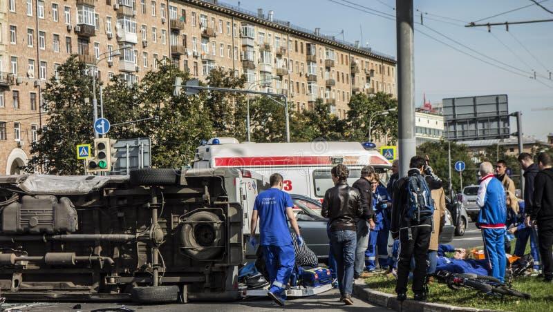 Moskou, Rusland - September 20, 2017: Ongeval die openlijk impliceren stock afbeelding