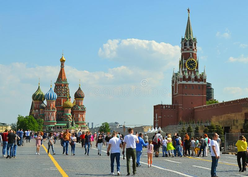 Moskou, Rusland, stad, 2018, megapolis, Putin, het Rode Vierkant, stock afbeeldingen