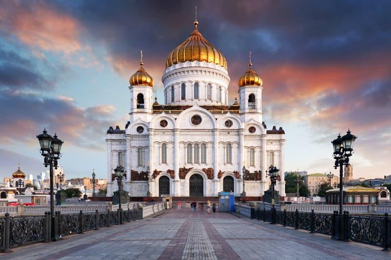 Moskou, Rusland - Zonsondergangmening van Kathedraal van Christus de Verlosser stock afbeeldingen