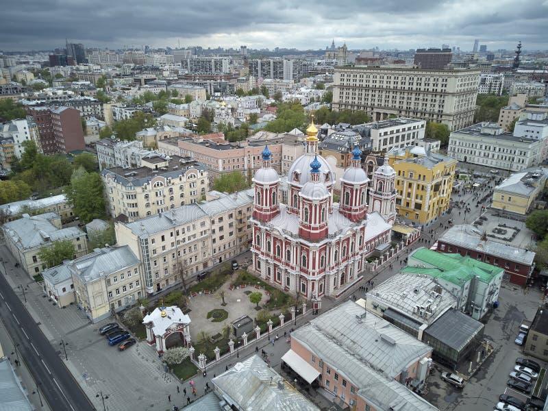 moskou St Milde Kerk Orthodoxe Kerk ter ere van Mild St Lucht panorama stock fotografie