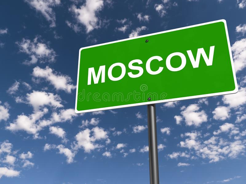 Moskow traffic sign. Moskow green traffic sign on blue sky royalty free illustration