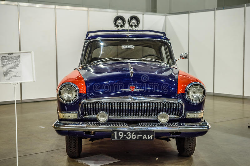 MOSKVA - AUGUSTI 2016: Polisen för milis som GAZ-21 framläggas på MIAS Moscow International Automobile Salon på Augusti 20, 2016  royaltyfri fotografi