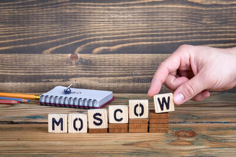 Moskva en stad i ryss var många miljoner av folk bor royaltyfria bilder