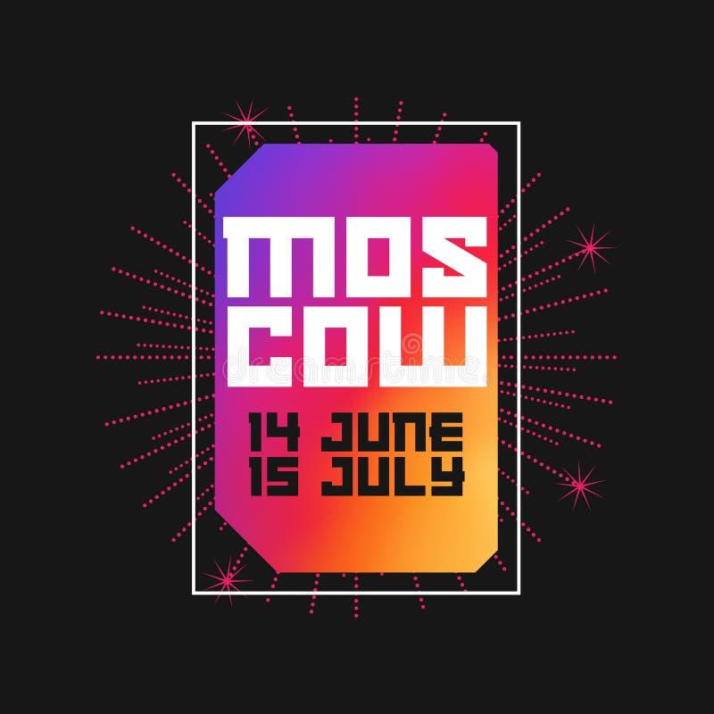 Moskva 14 Juni - 15 Juli 2018 Moderna Art Vector Frame Mall för affisch, baner eller tryck vektor illustrationer