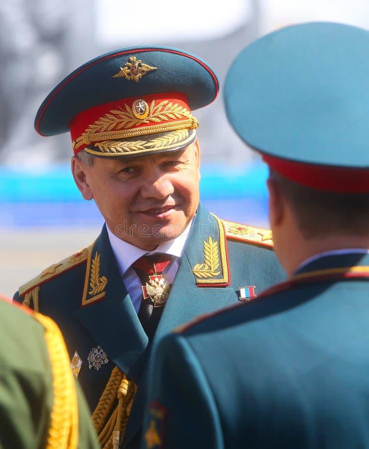 MOSKVA 07 MAJ, 2015: Försvarsminister armégeneral Sergei Shoigu arkivfoto